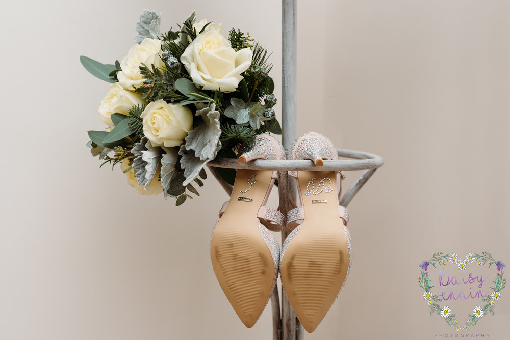 wedding shoes and wedding bouquet - lancashire
