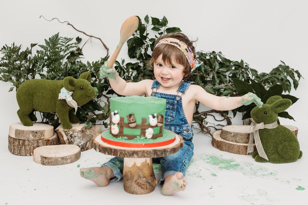 Farm themed cake smash - Lancashire photographer