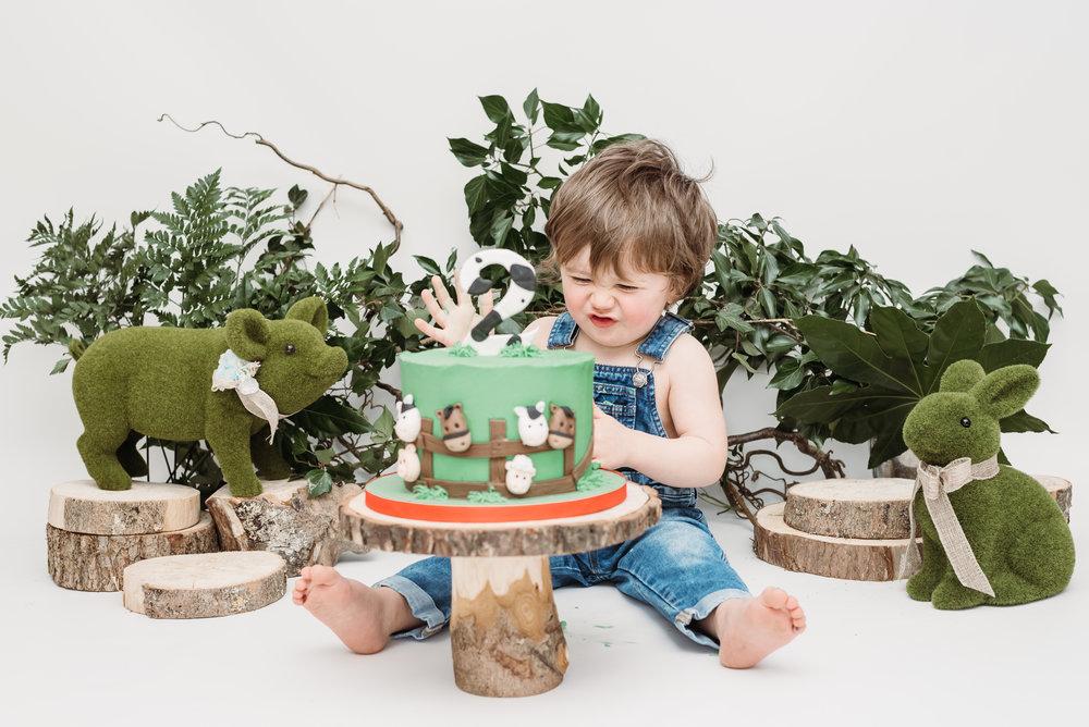 Young farmer - cake smash - lancashire