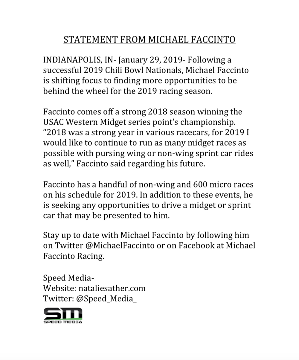 STATEMENT FROM MICHAEL FACCINTO