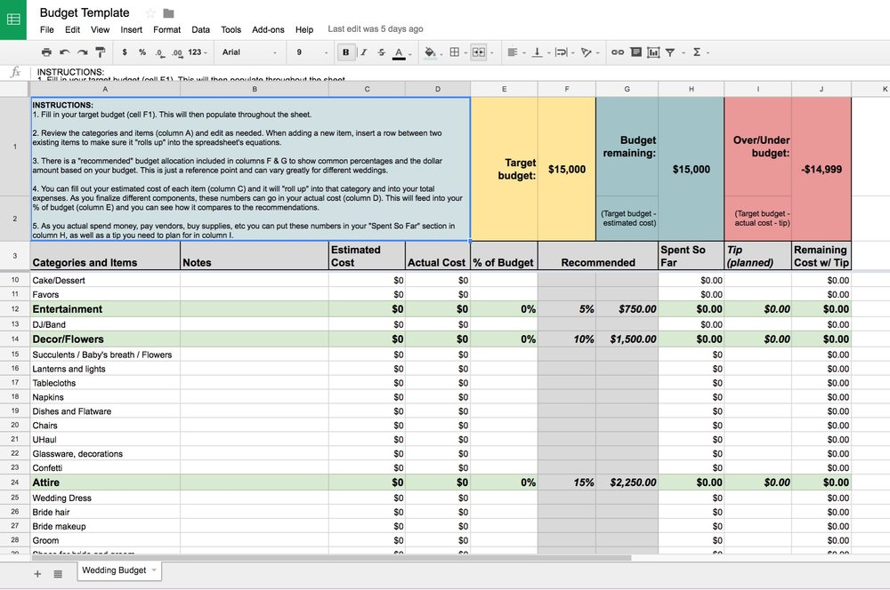 My Google Spreadsheet has all of the equations in place—just start filling in your info to customize.