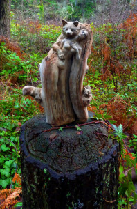 Fox & Rabbit, Forest Spirit Woman, Driftwood Sculpture
