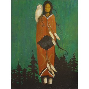 Wise Woman 8 1/2 x 11 Print Native American Shaman Owl Sacred Woman Wisdom Great Spirit Feather Stars Snow Redwood Trees