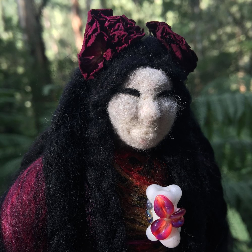 We Remember You - a spirit doll for the Janet Cornfoot and the l women tortured and accused of witchcraft in Pittenweem in Scotland. Now lives in the rose garden at the site of the witch burnings.