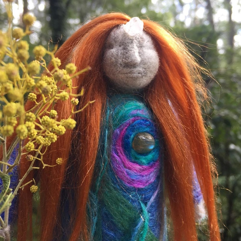 Sister Wattle & Nettle Doll - A reminder of Spring is what the bright yellow fuzzy blossoms of Wattle bring to Sherbrooke Forest in August. Spring is near, the light returns after the dark. Acacia blossoms cleaning and cleansing sacred spaces.