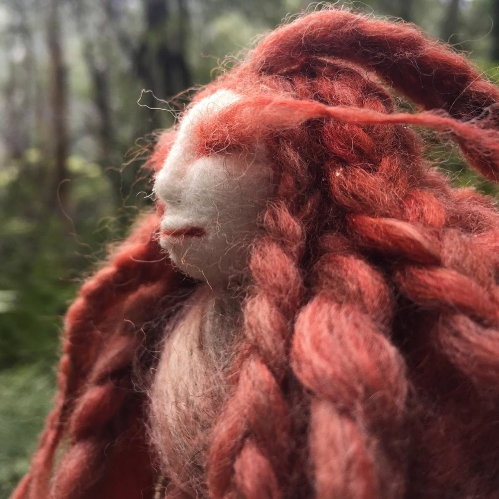 Madder Rose Faerie Doll - Dressed head to toe in ancestral Scottish fibres of the ancient Soay sheep dyed naturally with the medieval dye plant, Madder Rose. She is a Faerie spirit and wears a sacred beaded necklace made in prayer by a sister far far away.