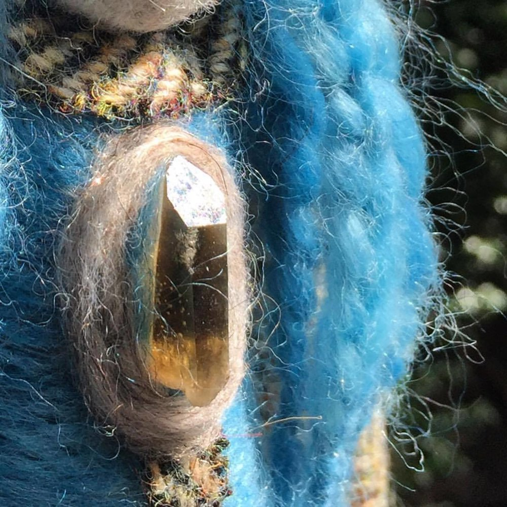 Sister Indigo Spirit Doll - Woven from fleece and fibre dyed by hand with the ancient plant dye Indigo and adorned with pure wool tweed we gathered from the Isle of Harris in Scotland.