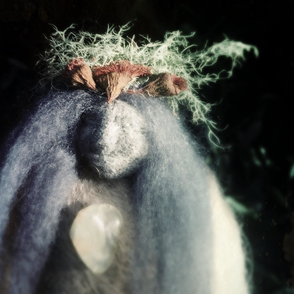 Of Moss and Fossil Doll - Moss and eucalyptus crown from the forest and prehnite and fossil from the desert.