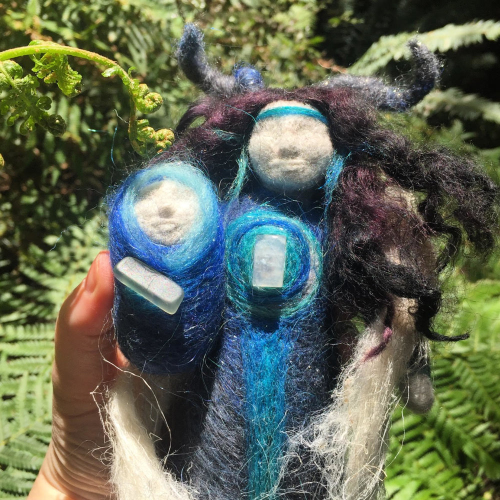 Moon Mother Moon Child - Mother and Child spirit dolls are dressed in Icelandic fibre from the ancient Leader sheep in Iceland with a strong and protective shawl woven from the Nettle plant.