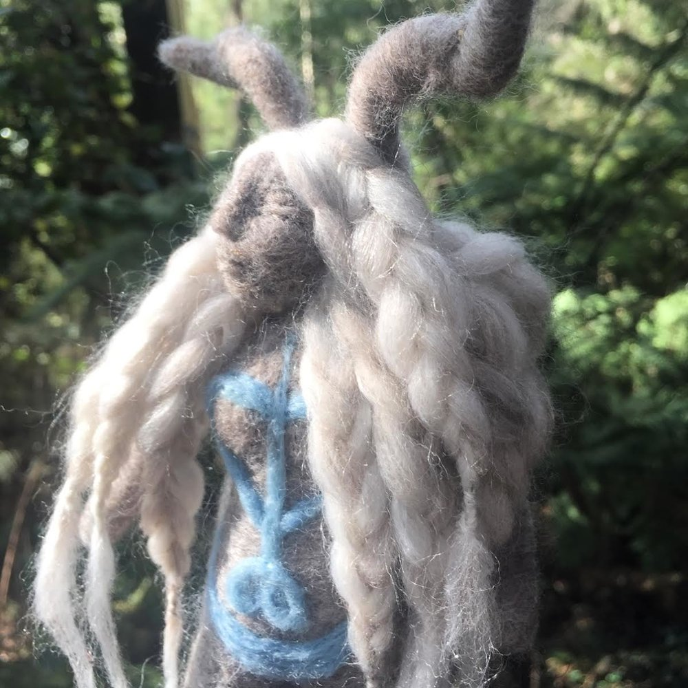 Crescent Moon Faerie Nettle & Indigo Doll -