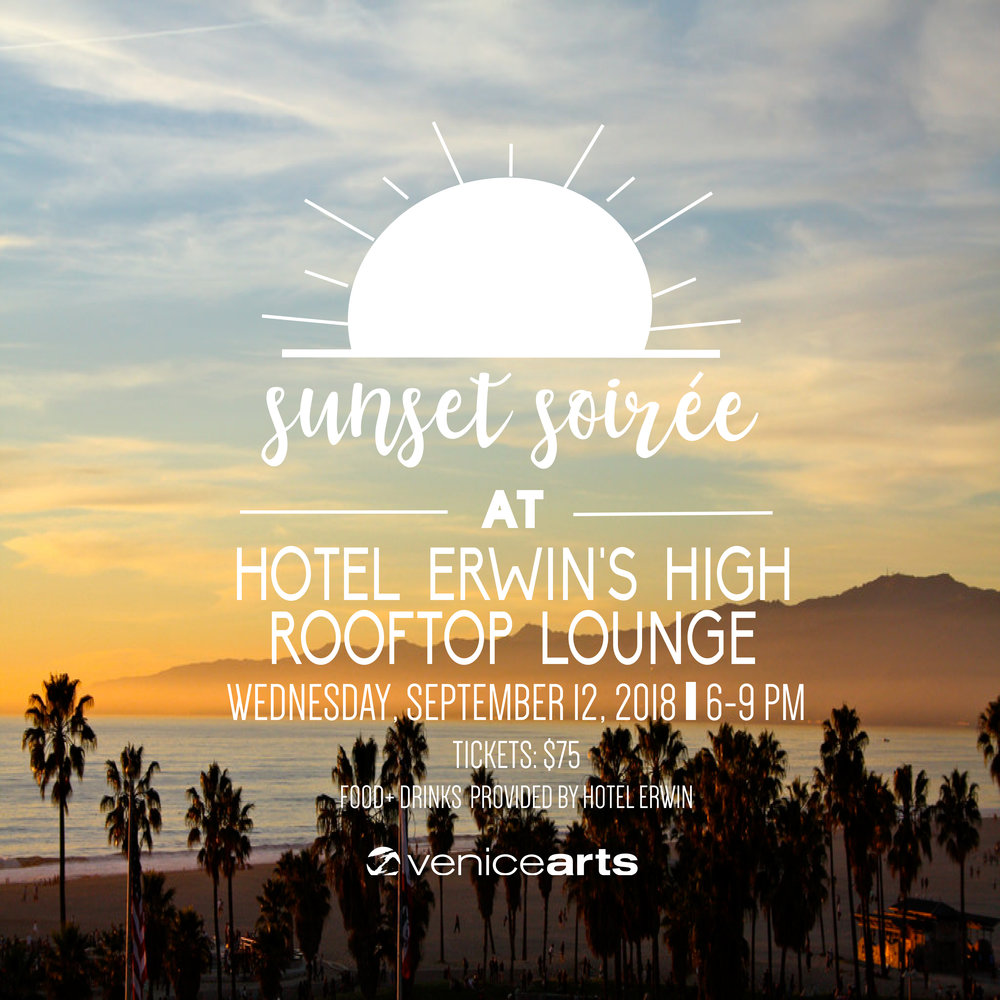 Join us for an intimate sunset soirée at the beautiful  Hotel Erwin  rooftop lounge overlooking Venice Beach. Enjoy a hosted bar and hors d'oeuvres generously provided by Hotel Erwin as you mix and mingle on Venice's hottest hotel rooftop. Your tickets & donations support Venice Arts, Los Angeles' preeminent youth arts nonprofit organization, providing free photography and filmmaking workshops and mentoring for low-income youth.  Hosted by Venice Arts' Board Members: Neal Baer, M.D. • Michael Cannone • Jodi Gusek • J-T Ladt • Mike Newhouse • Matt Ogens • Steven Oritt • Tristan Robinson & Cecily Chambers • Ruth Seroussi • Sarah Sung • Lynn Warshafsky  Food and drink generously hosted by Hotel Erwin