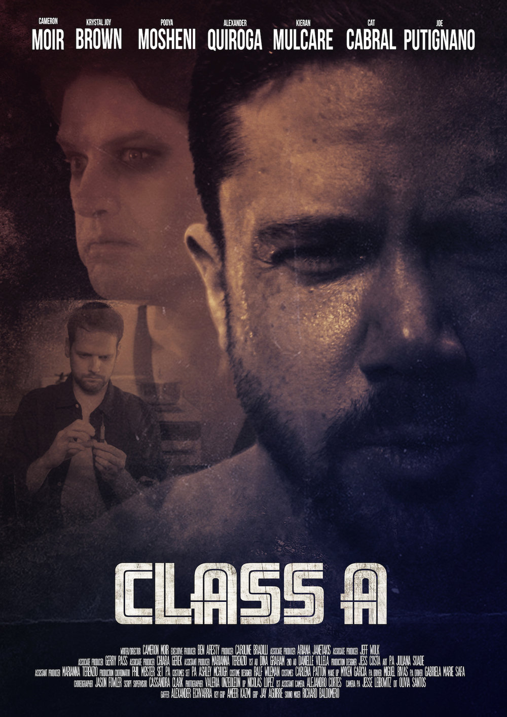 SHORT SYNOPSIS: CLASS A, follows three LGBTQ, addicts who battle their chosen drug…personified in the flesh. - LONGER SYNOPSISMind-altering and terrorizing, CLASS A, is set in modern-day New York City but the ultimate setting is another world in which our LGBTQ addicts, Jenny, Dan, and Brad enter when interacting with their drug. Focusing on three drugs, Coke, Heroin and Crystal Meth. Each drug has its own landscape in which the addict enters and cannot escape until the drug leaves them. Heroin, being a vast black eternal comb, Coke,  a stark, white, fast moving space and Crystal Meth, a red, steamy dungeon.