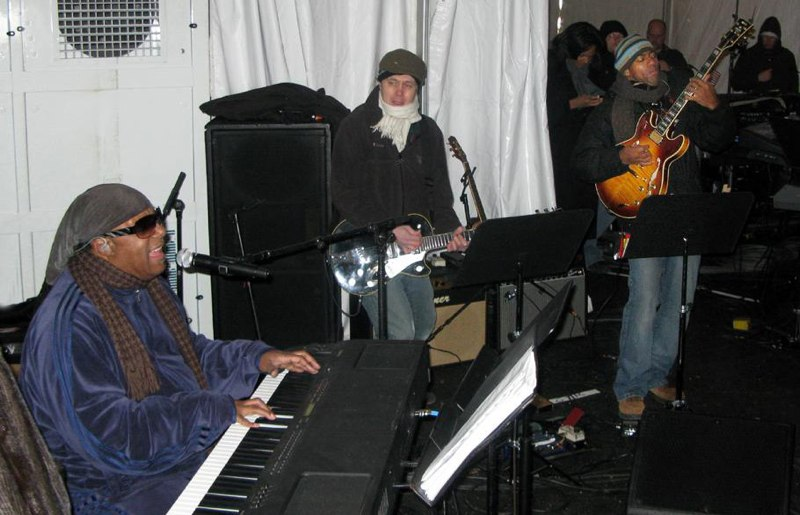 "Stevie Wonder, Shane Fontayne and Keith Robinson, Rehearsal for Obama Inauguration, DC ""We are One""."