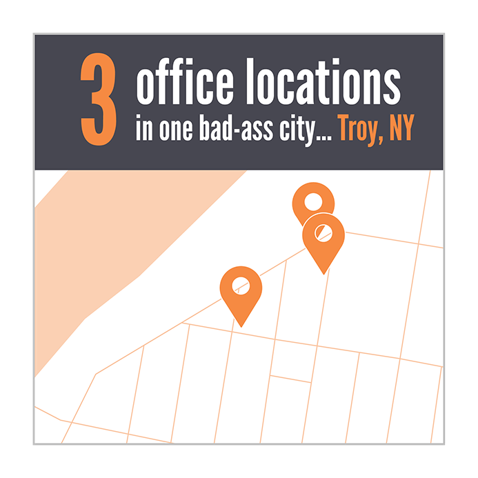 We have 3 office locations in Troy, New York.