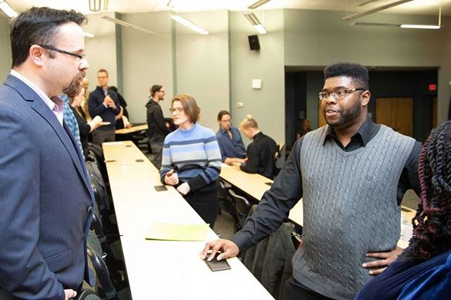 The largest graduating class from Albany Can Code (@albanycancode) with 31 graduates! * * Our QA developer (left) speaks to one of the graduates during last Thursday's event. Several students earned their certificates in #javascriptframeworks and #frontendwebdevelopment through @sunyschenectady. * Congratulations to all the graduates helping to expand the tech community in the region.