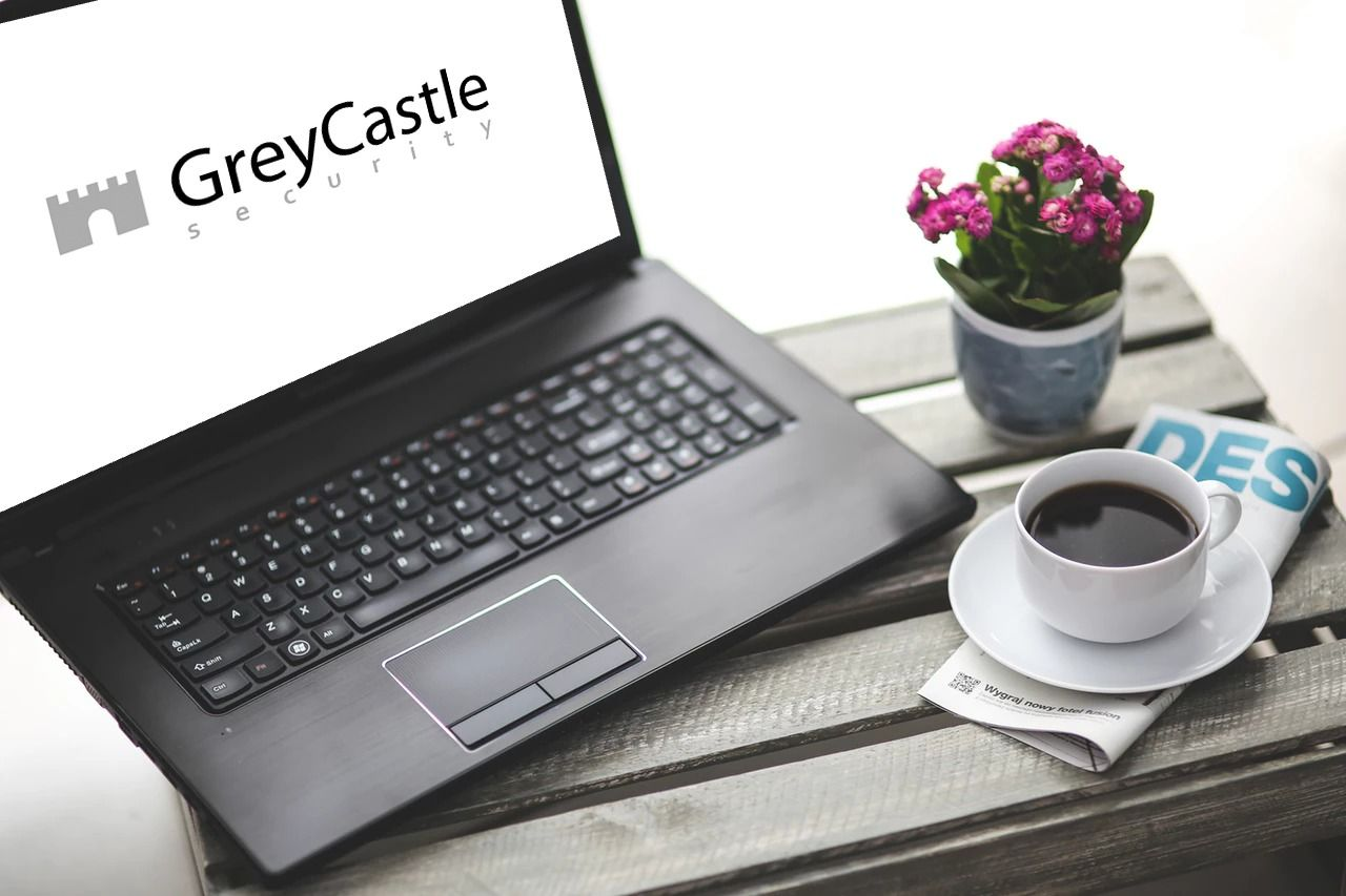 GreyCastle Securitys' logo on a laptop