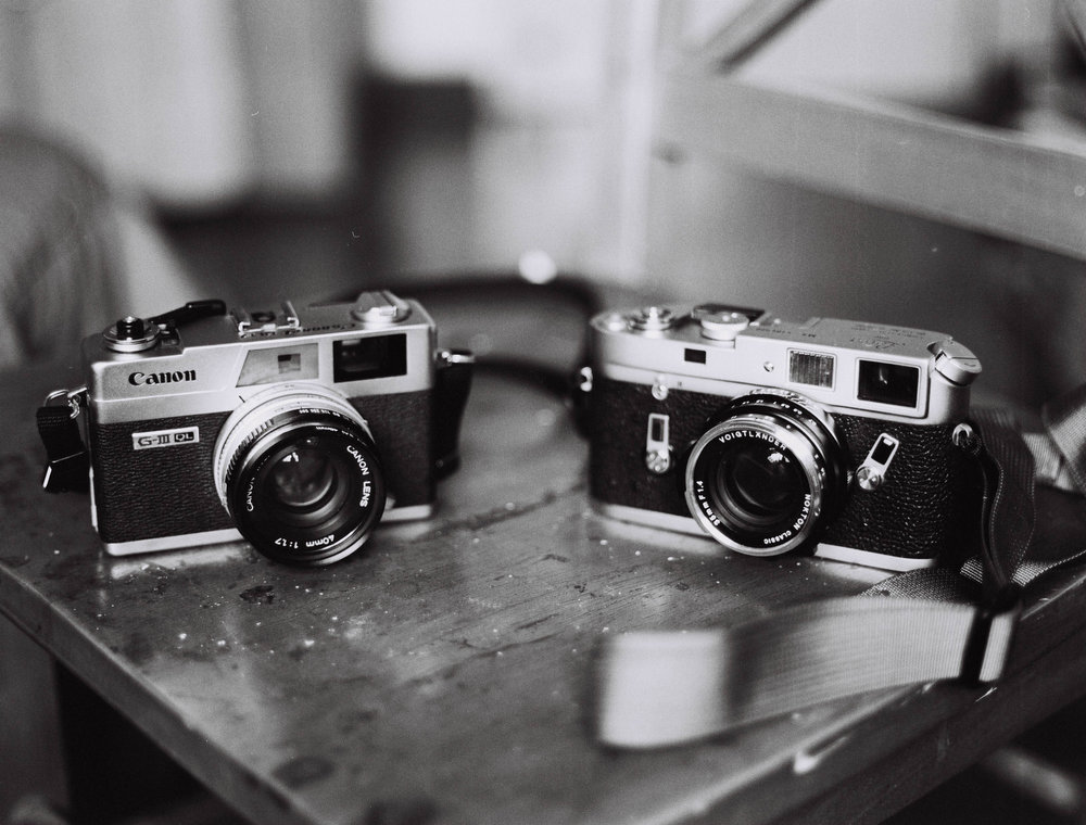 Canon Canonet QL17 Gii and Leica M4 shot with a Bronica ETRS.  All mentioned cameras had served me well while I had them.