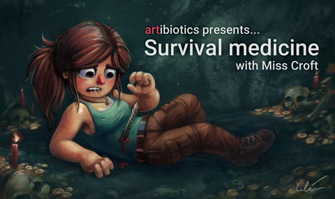 Survival medicine with Miss Croft, a caretoon by artibiotics
