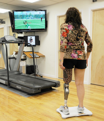 'Wii'habilitation training with a prosthetic leg. Image credit: A Step Ahead Prosthetics (https://astepaheadprosthetics.wordpress.com/2012/06/25/june-2012-newsletter-vol-9-issue-6/)