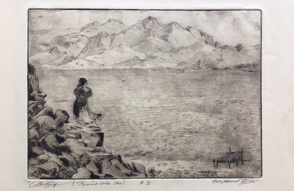 An example of a Pyramid Lake etching by George Demont Otis. This work is part of the Nevada Fine Art LLC collection.
