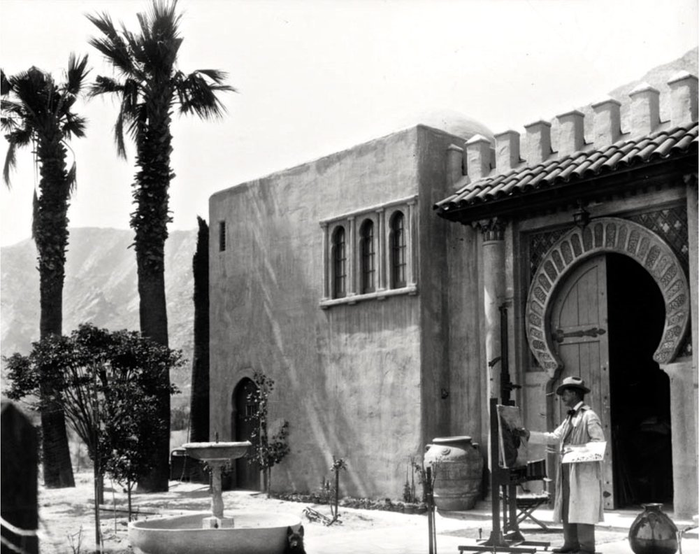 Coutts is shown outside Dar Maroc during the approximate period when he painted  Mt (San) Jacinto with San Gorgonio in Rear