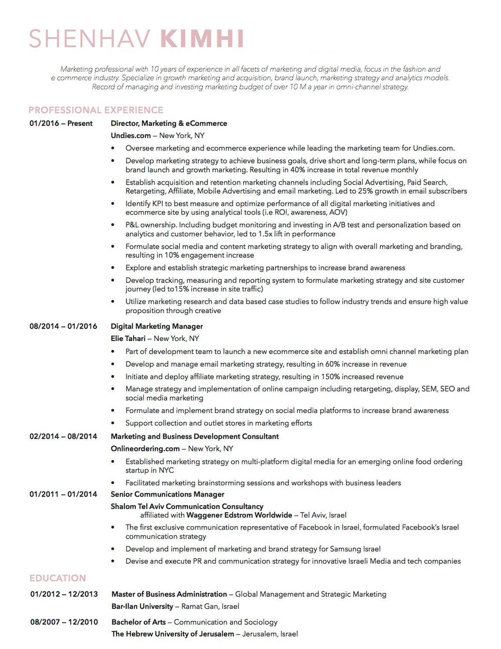 resume shenhav kimhi