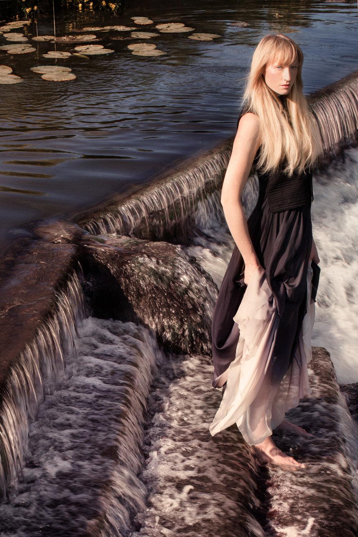 Black felt waistcoat: Vilshenko / Silk chiffon dip-dye skirt: Jenny Packham