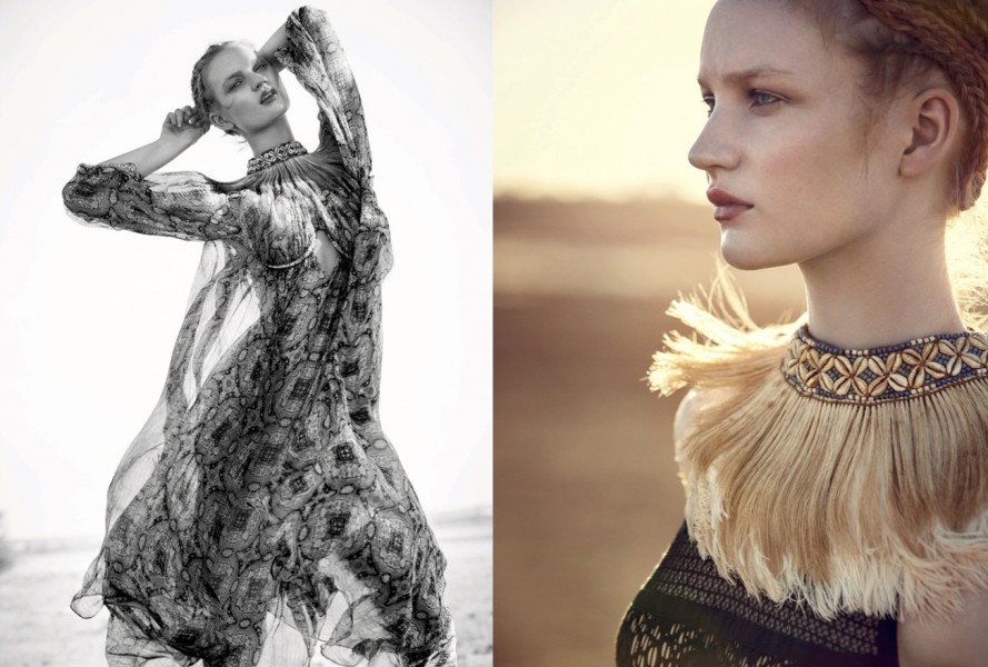 Left | Print chiffon dress:  Zimmermann  / Beaded fringed neck-piece:  Pebble London   Right | Crochet dress:  Elie Saab  / Beaded fringed neck-piece:  Pebble London  (as before)