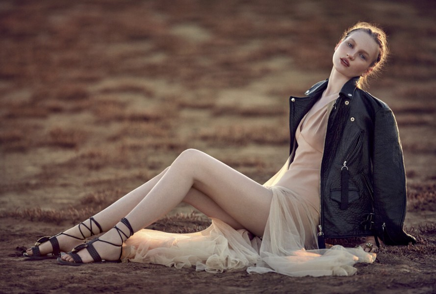 Chiffon dress:  Vionnet  / Leather jacket: Untitled / Leather sandals:  Valentino