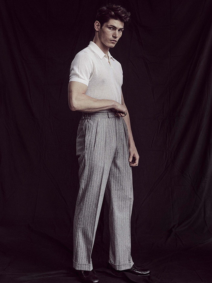 Top by Timothy Everest / Trousers by Richard Anderson / Shoes by G.H. Bass