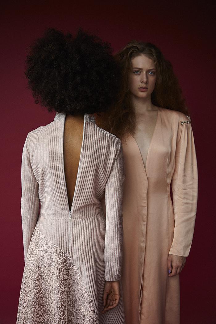 Nadia wears pale pink embellished dress by Peter Pilotto. Erin wears satin peach dress by Lanvin