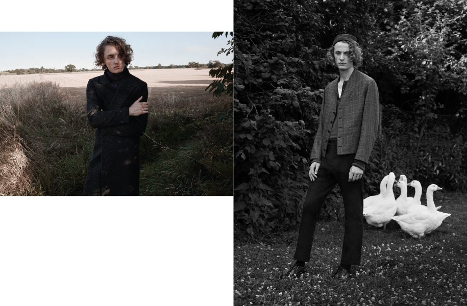 Left: Coat: BLK DNM / Jumper: Carrier Company Trousers: YMC | Right: Jacket: Caruso / Henley top: John Varvatos / Vest: Sunspel / Trousers: Helbers / Shoes: Valentino / Hat: Berluti