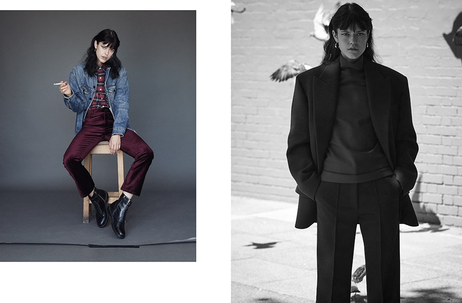 LEFT: Jacket: Alexander Wang @ Net-A-Porter.com / Shirt: R13 @ Net-A-Porter.com Trousers: Paige / Boots: Belstaff / Hoop earrings: Dinny Hall RIGHT: All clothes: Céline / Hoop earrings: Dinny Hall