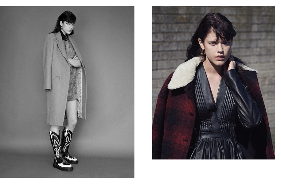 LEFT: Coat: Zadig & Voltaire / Dress: 3.1 Phillip Lim / Creeper boots: Underground / Hoop earrings: Dinny Hall RIGHT: Coat: MM6 Maison Margiela / Dress: Preen / Hoop earrings: Dinny Hall