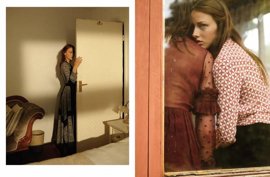 Left | Black and white paisley print dress: Altuzarra Right | Sheer dark-red dress: Preen Line / Print shirt: Sandro / Brown velvet trousers: Holly Fulton