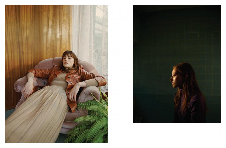 Left | Beige knit dress: Bottega Veneta / Rust leather jacket: Beyond Retro Right | Purple roll-neck jumper: Bally