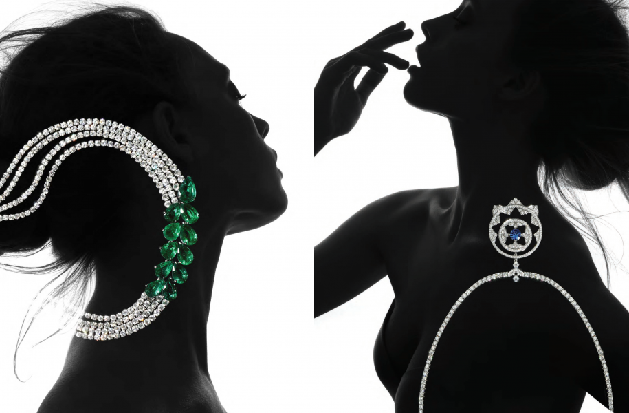 Left | Necklace Le Printemps in 18ct white gold set with 11 Zambian emeralds 62.79cts and diamonds 61.93cts. Adler Joalliers,  Right | Empress necklace in 18ct white gold. Mappin & Webb, £37,750