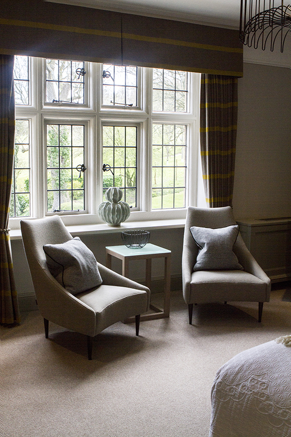 Cosy chairs in our Juniper room at Foxhill Manor