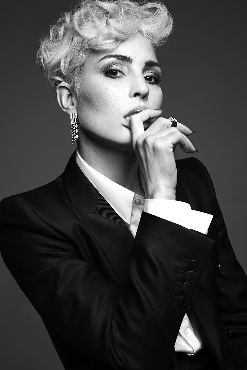 Suit:  Bottega Veneta /  White shirt:  Gucci  @  mrporter.com /  Earrings:  Chanel /  Rings:  De Beers