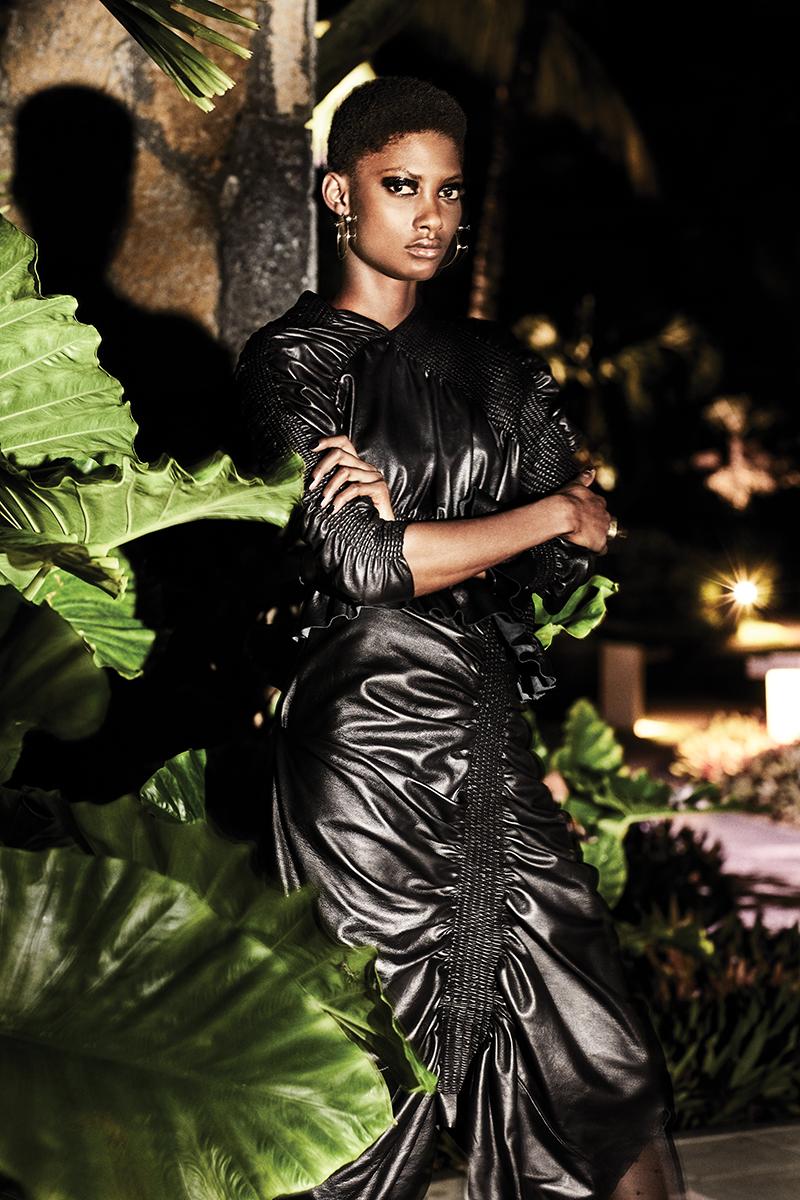 Dress:  Preen by Thornton Bregazzi / Earrings:  Maria Black  / Ring:  Sian Evans  for  Borgo De Nor