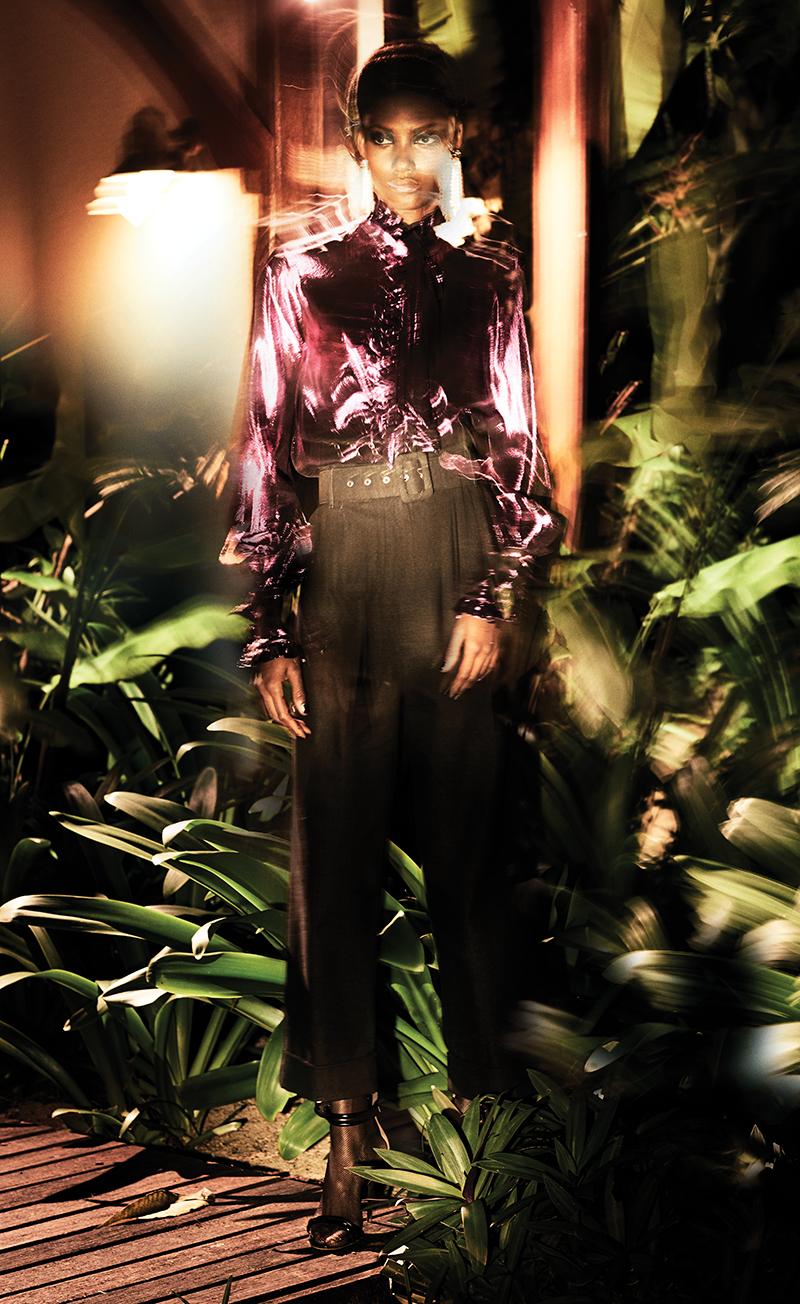 Shirt:  Bally / Trousers:  Isa Arfen / Heels:  Malone Souliers  for  Roksanda  / Earrings:  Stella McCartney