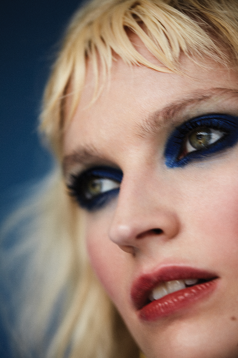 NEW WAVE   – On eyes: Caviar Stick Eye Colours in  Sapphire  and  Tuxedo /  Creme Cheek Colour in  Blaze /  Sheer Lip Colour in  Bare Lips:  All by  Laura Mercier  / Immaculate Liquid Powder Foundation in  Blanc /  Hidden Corrective Concealer: Both by  Hourglass