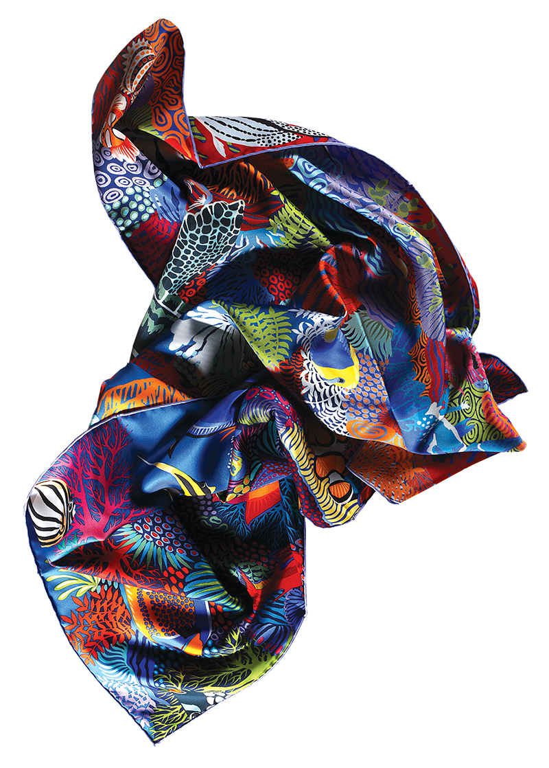 Under The Waves  silk scarf:  Hermès