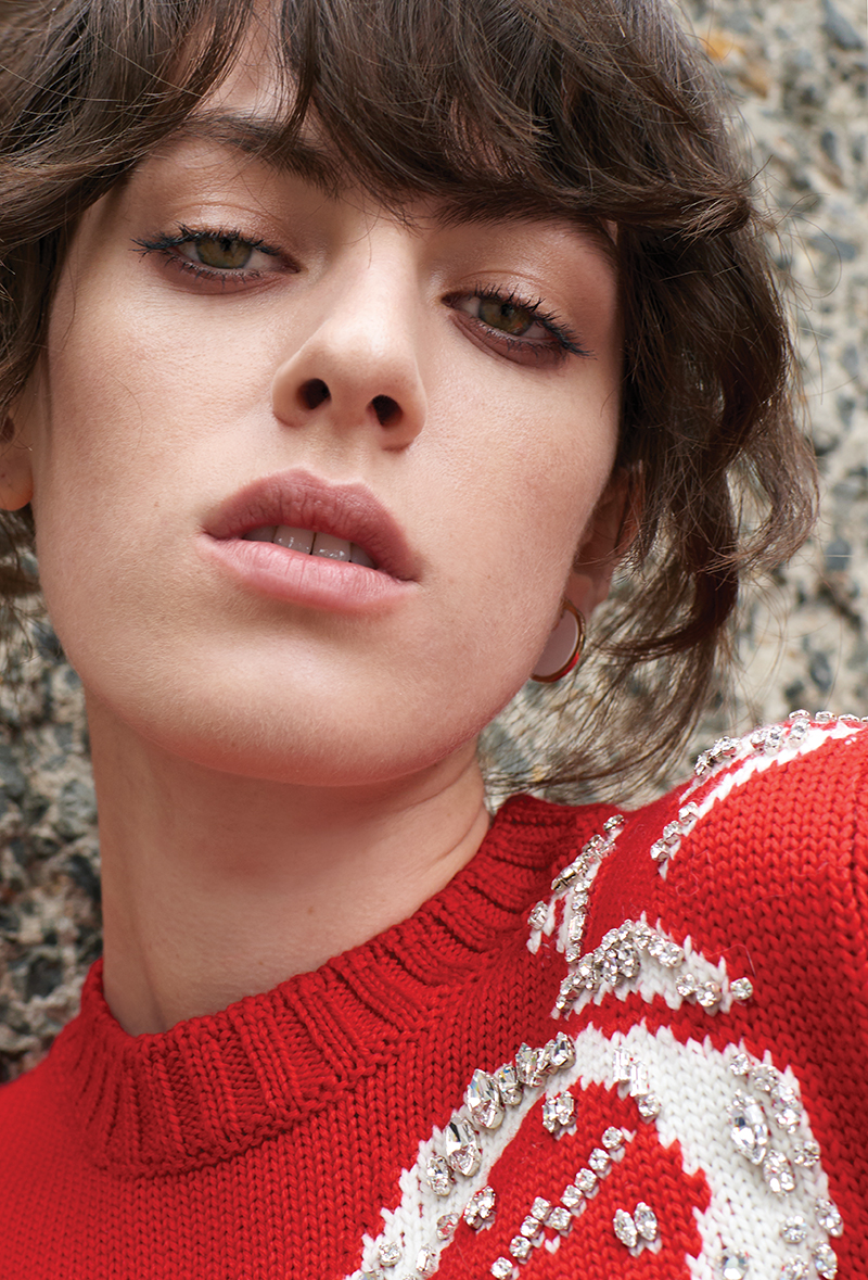 Embroidered jumper:  Miu Miu  / Earring:  By Pariah