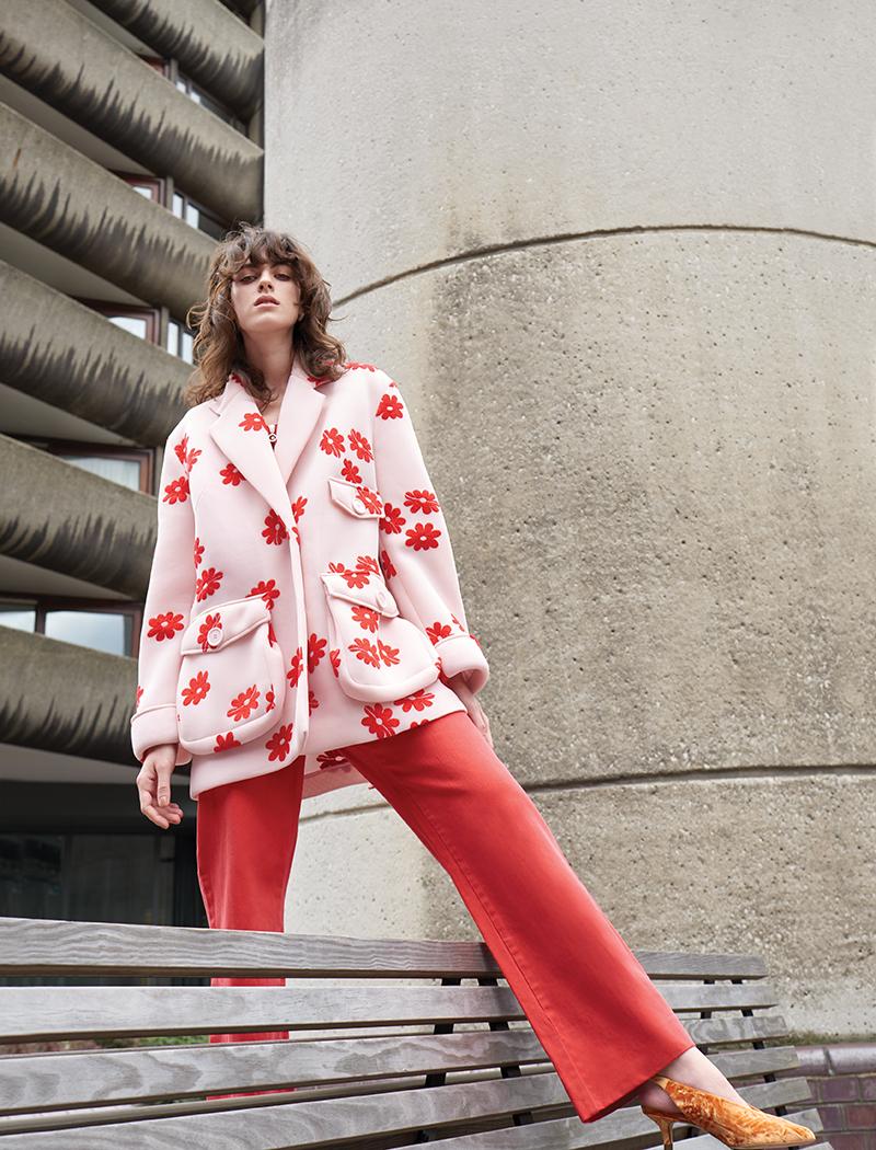 Jacket:  Simone Rocha / Dungarees:  ALEXACHUNG / Shoes:  Tibi