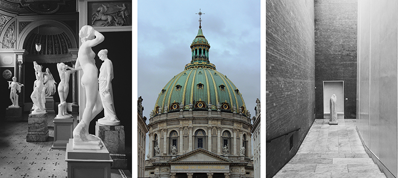 Black & white images: Glyptotek art museum / Centre: Frederik's Church
