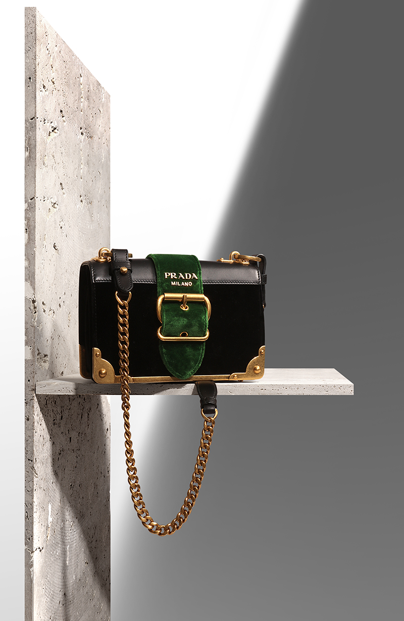 PRADA  Cahier velvet shoulder bag via mytheresa.com – £1,550.00