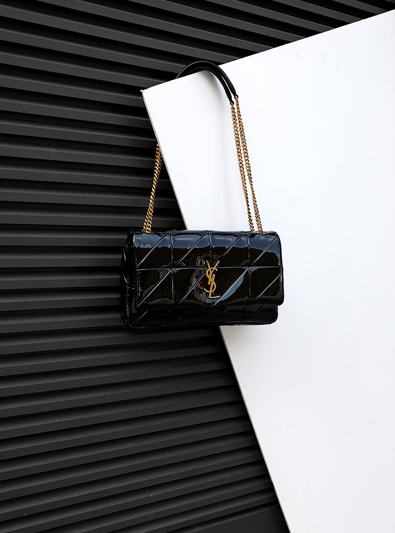 MEDIUM MONOGRAM  JAMIE CHASIN  BAG IN BLACK VARNISH CARRE RIVE GAUCHE PATCHWORK LAMBSKIN LEATHER