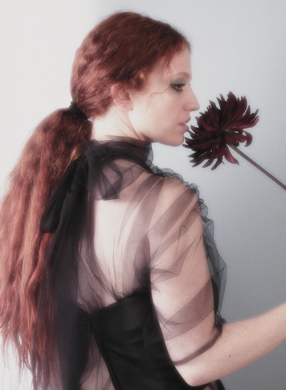 Organza dress and corset:  Prada /  Flower:  Rebel Rebel