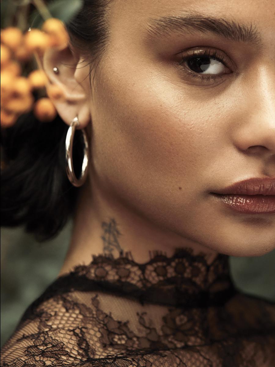 Chantilly lace cape:  Maria Lucia Hohan  @  matchesfashion.com /  Earring:  Georgiana Scott